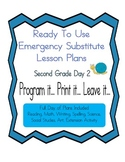 Second Grade Editable Elementary Substitute Emergency Less