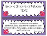 Second Grade Social Studies TEKS Cards