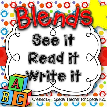 See It, Read It, Write It-- BLENDS  {Word Work Centers and Printables}