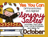 Sensory Table Aligned Activities, Task Cards and Printable