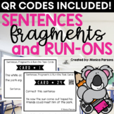 Sentences, Fragments and Run-Ons Task Cards: Common Core Aligned