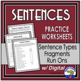 Sentences Practice Worksheet