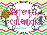 September 2015 Kindergarten ActivInspire Calendar