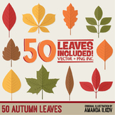 Set of 50 Autumn Leaves Clipart - Fall Leaves Clipart - Au