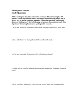 Shakespeare in Love: 2-page Study Guide for Film