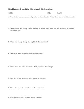 Shawshank Redemption Review Questions