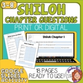 Shiloh Comprehension Worksheets