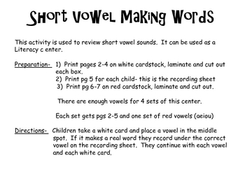 Short Vowel Making Words