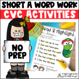 Short a Word Work Activities CVC Words