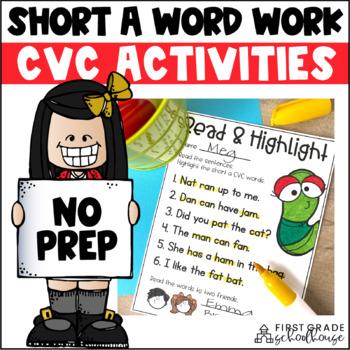 Short a Word Work Activities CVC Words