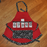 Show and Tell Apron (red apron with black and white bandana trim)