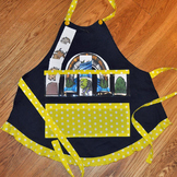 Show and Tell Apron (navy apron with bright yellow polka d