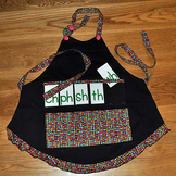 Show and Tell Apron (black with multi colored spots)
