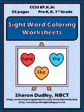 Sight Word Coloring Worksheet Package