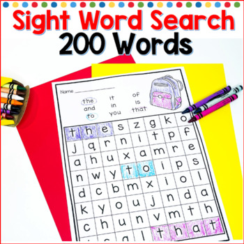 kindergarten sight words, Fry word list, sight word search