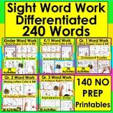 Sight Words BUNDLE VALUE 120 Activities - NO PREP! 5 Level
