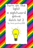 Sight word game Turn on the Light list 2
