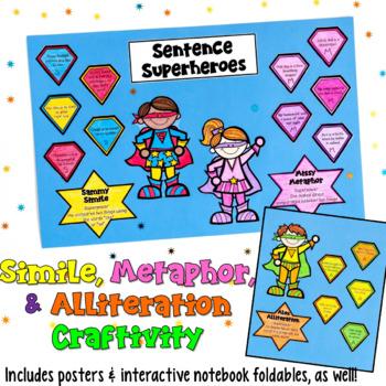 Similes, Metaphors, & Alliteration Craftivity: Superheroes