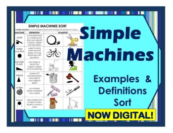 Simple Machines Sort Cut and Paste Examples and Definitions