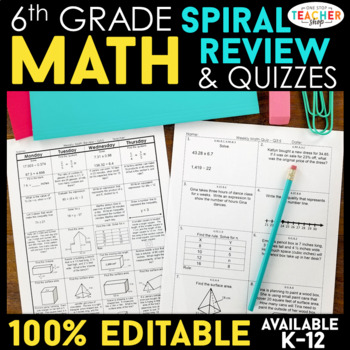 6th Grade Spiral Math Homework {Common Core} - ENTIRE YEAR!!! 100% Editable