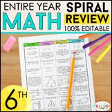 6th Grade Spiral Math Homework {Common Core} - ENTIRE YEAR