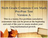 6th Grade Math: Common Core Cumulative Pre and Post Test A