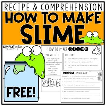 Slime Recipe & Comprehension Questions FREEBIE