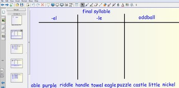Smartboard Word Sorts - final syllable -le & -el