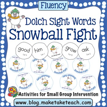 Dolch Sight Words Snowball Fight