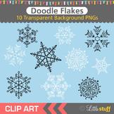 Snowflake Clipart, Doodle Style Snowflake Clip Art