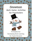 Snowman Math Center Activities for Preschoolers
