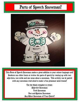 Snowman: Parts of Speech Snowman