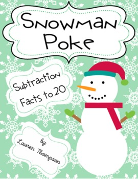 Snowman Poke Subtraction to 20 Math Game