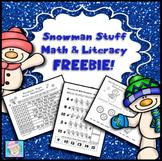 FREE! Snowman Stuff Math and Literacy Pack