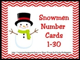 Snowmen Number Cards 1-30