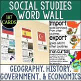 Social Studies Word Wall Set: Geography, Government, Econo