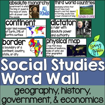 Social Studies Word Wall Set: Geography, Government, Economy, & History