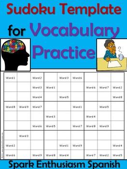 Sodoku Template for Vocabulary Practice in Spanish