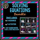 Solving Equations Bundle - Notes, Mazes, Activities, Game