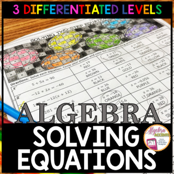 Thanksgiving Solving Equations Coloring Activity