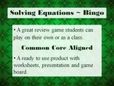 Solving Multi-Step Equations Bingo - Practice Algebra whil