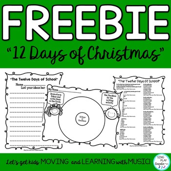"Song and  Lyric Writing Printable ""The Twelve Days of School"""