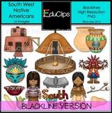 South West Native Americans Clip Art BLACKLINES