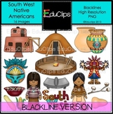 South West Native Americans Clip Art BLACKLINES