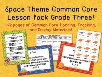 Space Theme Grade Three Common Core Lesson Planning Pack