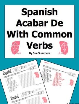 Spanish Acabar + De + With Common Infinitive Verbs