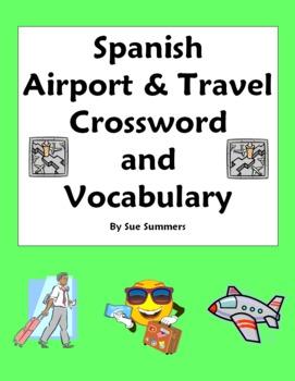 Spanish Airport/Travel Crossword/Word List  - Substitute Lesson