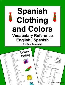 Spanish Clothing Vocabulary Reference - Bilingual English/Spanish