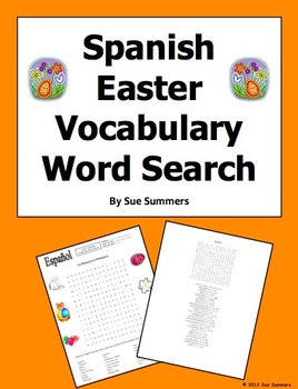 Spanish Easter Vocabulary Word Search Puzzle