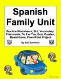 Spanish Family Unit - Vocabulary, Worksheets, Project, Qui
